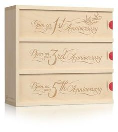 Great gift for the bride and groom! We love this gift that keeps on giving. These wine boxes are only to be opened on special anniversaries. The front panels are engraved with your own personal message. A truly memorable gift!