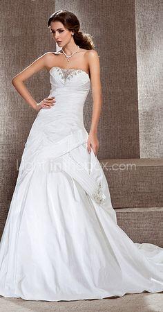 A-line Sweetheart Court Train Taffeta Side-draped Wedding Dress,  Lightinthebox.com