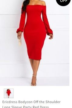 dee1045de2 Ericdress Bodycon Off the Shoulder Long Sleeve Party Red Dress Item Code   13724001 Material