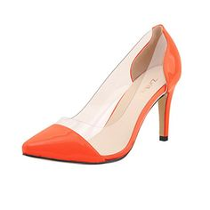 ZriEy Sexy Womens Patent Pointy Toe High Heels Party Wedding Count Pump Shoes Orange Size 10 42 M EU -- Be sure to check out this awesome product.-It is an affiliate link to Amazon. #WeddingShoes