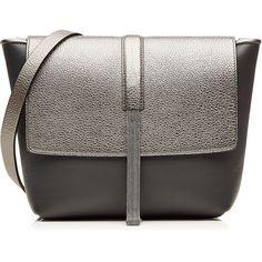 Brunello Cucinelli Leather Shoulder Bag (€2.370) ❤ liked on Polyvore featuring bags, handbags, shoulder bags, grey, shoulder strap bag, leather purse, genuine leather handbags, grey leather handbag and grey handbags