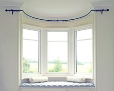 Wrought iron bay window curtain poles - made to measure Bay Window Curtains Living Room, Bow Window Curtains, Bay Window Curtain Poles, Bay Window Blinds, Home Curtains, Living Room Windows, Curved Curtain Pole, Curtain Rods, Bay Window Seats