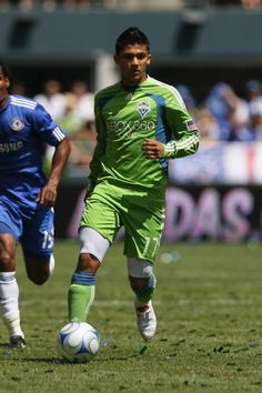 Fredy Montero of Seattle Sounders FC dribbles the ball against Chelsea FC on July 18 2009 at Qwest Field in Seattle Washington