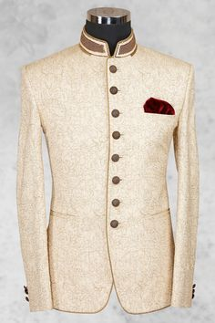 #Cream smart #raw silk suit with bandhgala collar-ST478