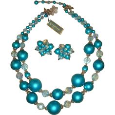 ed1984f543a7 Vintage 50s 60s Vendome Turquoise Glass Pearls Necklace   Earrings Demi  w Hangtag Turquoise
