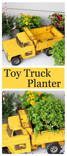 What a fun gardening DIY project!  Upcycle a toy truck into a planter (this rusty one was found at a yard sale).  Too cute!