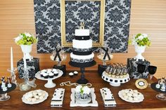 Black and gold candy table gold black damask birthday party dessert table. 70th Birthday Decorations, Birthday Party Desserts, 70th Birthday Parties, 50th Party, Birthday Games, Casino Theme Parties, Party Themes, Party Ideas, Gatsby Party