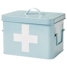 Andrew James Vintage First Aid Tin Medicine Storage Box Retro Blue