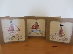 come sailing in! three more sailing boat cards. And a picture of them all packaged and ready to go to new homes! Freehand Machine Embroidery, Free Motion Embroidery, Free Machine Embroidery, Fabric Postcards, Fabric Cards, Paper Cards, Hand Made Greeting Cards, Making Greeting Cards, Card Making Inspiration