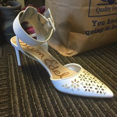 """Sam Edelman """"Odynna"""" Pointy Toe Pump in White This low heel is perfect for spring and summer. It has great detailing throughout and is much more comfortable than any stiletto out there. Never worn. Sam Edelman Shoes Heels"""