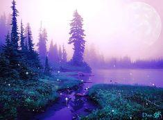 #pixie  #alien #planets #universe #green #purple #pond #woodland #view #stream #fireflies #fog #mist #river #pinetrees Alien Worlds, Collage Artists, Fireflies, Surreal Art, Digital Collage, Art Day, Mists, Pond, Pixie