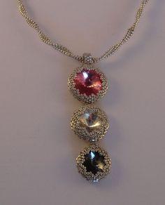 Triple swarovski rivoli beaded necklace by Meretei on Etsy, €20.00