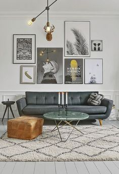 Gallery Wall Over Leather Couch Living Room Art Deco Interior