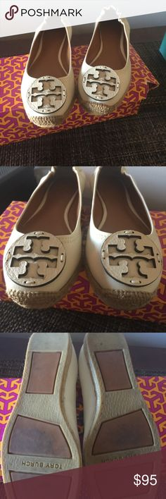 Amazing Tory Burch leather espadrilles! Worn once. Great condition.  Ivory in color. Tory Burch Shoes Espadrilles
