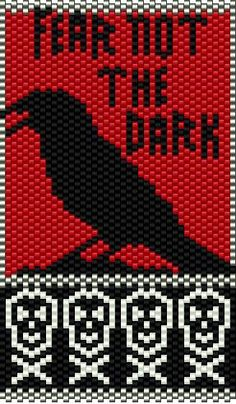 Fear Not The Dark Raven Beading Chart Pattern by Busy Crow Studio at Bead-Patterns.com