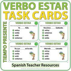 Spanish Task cards to practice the conjugation of the verb ESTAR. Tarjetas de selección múltiple para practicar la conjugación del verbo ESTARen español.