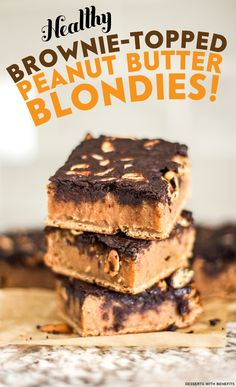 Mmmmm...  Peanut Butter Blondies.  Topped with brownies.  And made good for you?  YES, PUH-LEASE.  These Wholesome Brownie-Topped Peanut Butter Blondies consist of a fudgy and dense Peanut Butter Blondie base, a few big sprinkles of rich and crunchy Peanuts, and a decadent and delicious Brownie Topping. (refined sugar free, high protein, high fiber, gluten free, dairy free, eggless, vegan)