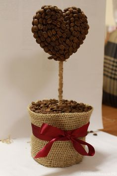 Как сделать кофейное дерево (топиарий) в форме сердца / How to make a coffee tree (Topiary) in the form of heart Valentine's Day #Day #ValentinesDay #VDay #Topiary #coffee #tree #heart