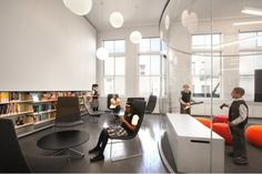 New York Public Library (Harlem) - Teen Center has lots of cool spaces for teens to work within and socialise.