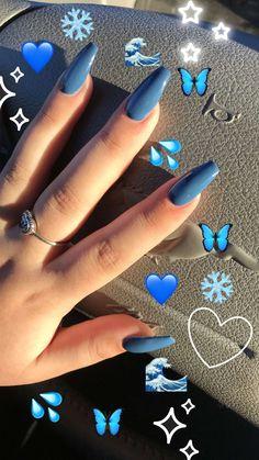 ✔ 60 best eye catching and trendy coffin acrylic nails design 16 > Fieltro. Acrylic Nails Coffin Short, Blue Acrylic Nails, Yellow Nails, Acrylic Nail Designs, Pink Nails, Purple Nail, Emoji Nails, Aycrlic Nails, Swag Nails