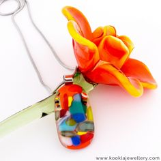 One of our newest Kookla Jewellery creations, the vibrancy of colour will amaze you. This spectacular pendant is a one of a kind handmade original.