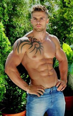 Sexy tattoo man chest big muscle