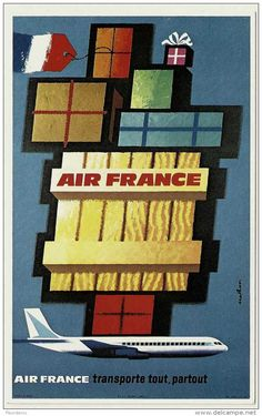 Affiche AIR FRANCE CARGO - 11 - NATHAN 1962