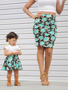Mommy and Me Matching Skirts - Turquoise Flowers. A pencil skirt for mom and a flowy circle skirt for baby girls