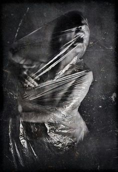 """Perhaps too """"horror"""", but I like the idea of using shrink wrap as a way to illustrate feeling trapped. Creepy, Scary, Arte Horror, Horror Art, Art Noir, Bild Tattoos, Montage Photo, My Demons, Dark Photography"""