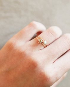 Diamond Flower Stacking Ring in 14k Gold, White and Yellow Diamonds in solid 14k Yellow Gold.