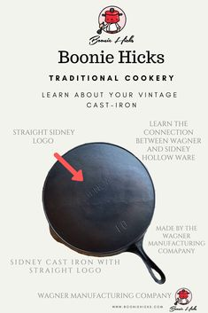 Wagner cast iron or Wagner Ware are some of the finest vintage cast iron cookware. Learn the history, dating, logos of Wanger Manufacturing Company. Vintage Cast Iron Cookware, Wagner Cast Iron, Cast Iron Skillet, Letters And Numbers, Frying Pans, It Cast, Dutch Oven, Logos, Homesteading