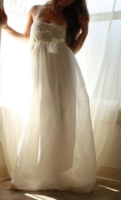 Ballerina Babydoll Wedding Gown In Chiffon with by whiteromance, $650.00