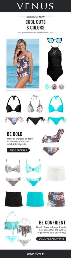 Make your poolside debut in the season's hottest solid and floral bikinis. #venusswimwear #swimwear