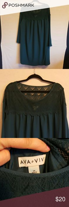 Ava & Viv Teal Trapeze Lace Top Dress Ava & Viv Teal Trapeze Dress, Size 2X, lined, lace top is see through Length: 41.5 inches Pit to pit: 27 inches Ava & Viv Dresses