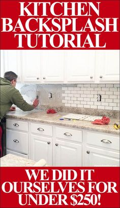 How to install your own kitchen backsplash (great step-by-step tutorial with supply list). We did it ourselves for under $250!!!!