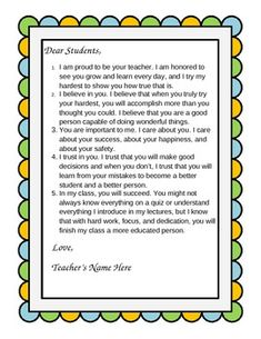 """""""Dear Students"""" - A Customizable Beginning-of-the-Year Letter to Your Class Classroom Incentives, Classroom Resources, Classroom Management, Teacher Resources, Teaching Ideas, Classroom Ideas, 1st Day Of School, Beginning Of The School Year, Too Cool For School"""