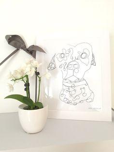"Home Decor Wall Art Print   Dalmatian Dog ""George"" Digital Illustration   Minimalist Modern Animal Drawing   FRAMED!"