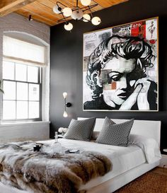 Marilyn MONROE « Memory » ORIGINAL Art Painting Portrait Contemporary Art Mixed Media Canvas Acrylic Painting White Black Gold Ready to Hang By Kathleen Artist PRO.