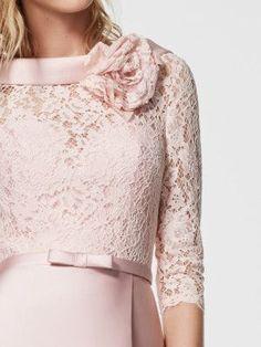 Imagen del vestido de fiesta rosa palico (62053). Vestido GLORYMAR largo manga tres cuartos