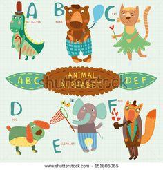 Cute animal alphabet.  A, b, c, d, e, f letters.  Alligator, bear, cat, dog, elephant, fox.Alphabet design in a colorful style.