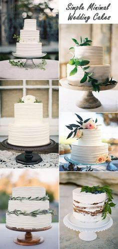 simple minimal greenery wedding cakes for minimalist weddings