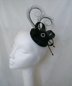 Elegant Black Curl Feather Sinamay Loop & Pearl Crystal Wedding Fascinator Mini Hat - Custom Made to Order Halloween