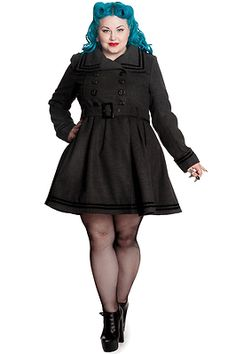 Hell Bunny PLUS SIZE New Millie Coat Grey Nautical Military Style Winter Jacket- cute