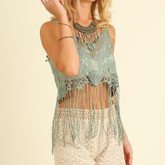 Umgee Lace Crop Top with Fringe by Baretreesboutique on Opensky