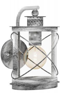 """Home interior lights / ONLINE SHOP : click on this LINK ( www.rietveldlicht.nl ) Verzendkosten gratis .  Fraaie, sfeervolle buitenlantaarn welke aansluit bij een Riviera Maison stijl! Deze buitenlamp is gemaakt van gegalvaniseerd staal en uitgevoerd in een grijs/ witte kleur. Deze wandlamp heeft een antieke, zilveren uitstraling en komt vintage over. Het """"glas"""" is gemaakt van helder kunststof . Tuin verlichting ."""