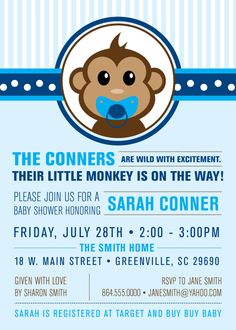 Little Monkey Baby Shower Invitation Printable by OhCreativeOne, $15.00
