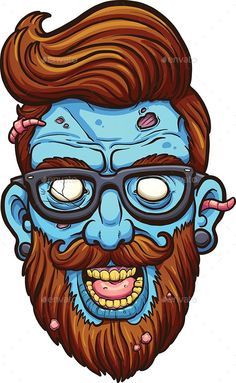 Illustration about Hipster cartoon zombie head. Vector clip art illustration with simple gradients. All in a single layer. Illustration of mustache, blue, illustration - 79749811 Zombie Cartoon, Zombie Art, Cartoon Art, Zombie Head, Zombie Illustration, Hipster Illustration, Illustration Art, Graffiti Cartoons, Graffiti Characters