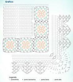 Material: – Barabnte EuroRoma 4/6 cru; – Barbante Milano nas cores 710 e 804; – Agulha de Crochê 3,5mm Tamanho: 90 x 52cm