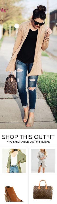 #spring #outfits Beige Cardigan & Black Top & Ripped Skinny Jeans & Brown Printed Tote Bag