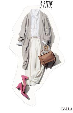 連休明けはクリーンな着こなしに、女らしさがくゆりたつ色小物を♡-@BAILA